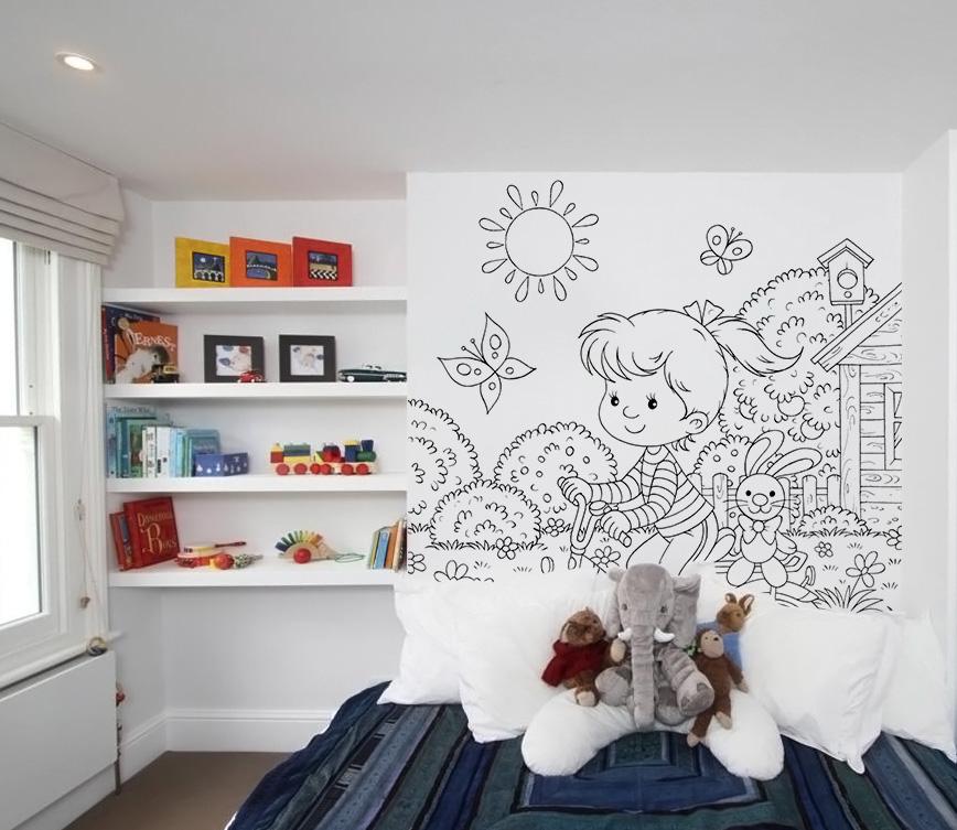 kolorowanki na ścianę, tapeta do pokoju dziecka