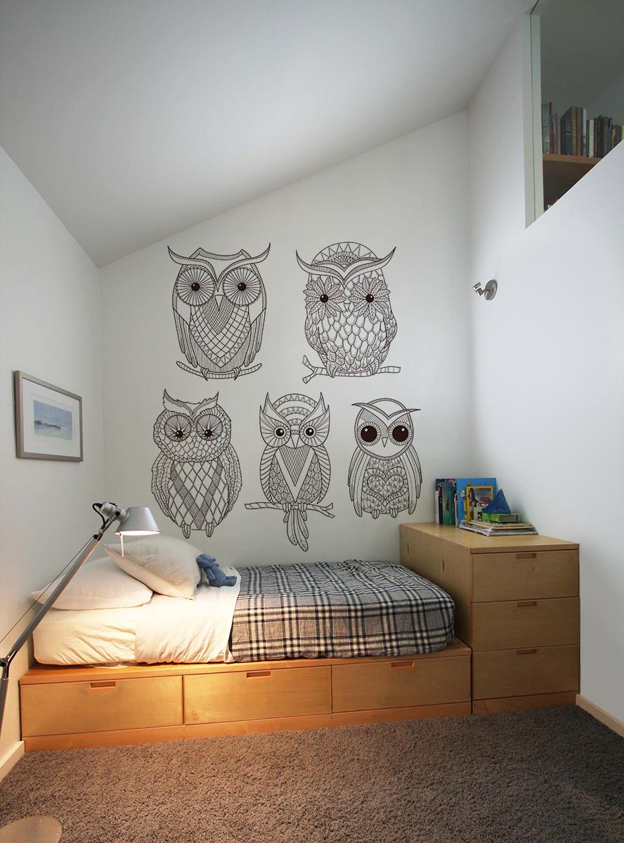kolorowanki na ścianę, tapeta w sowy