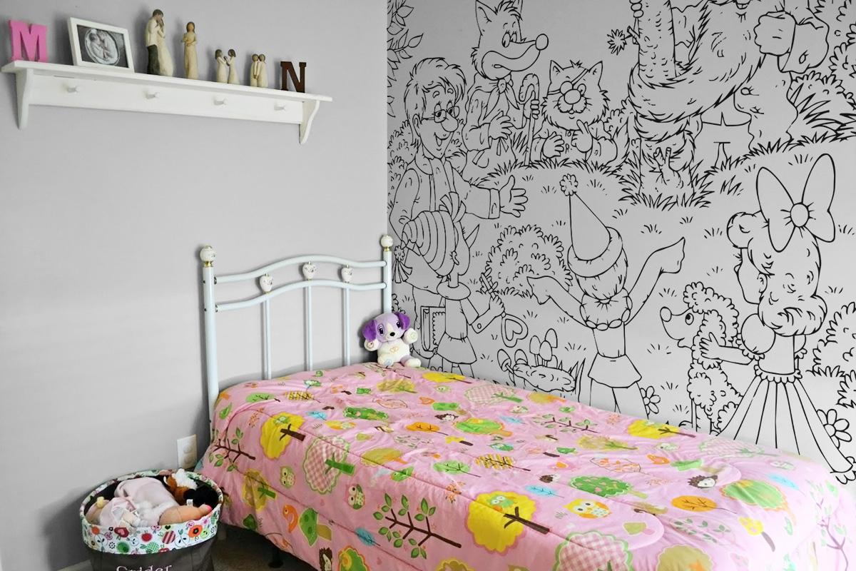 kolorowanki na ścianę, tapeta dziecieca