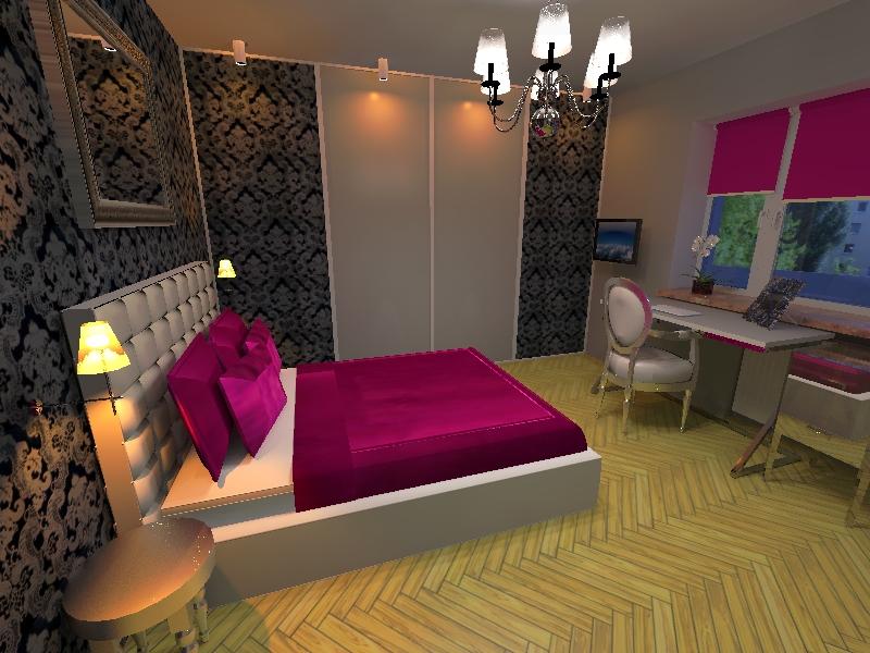 różowe wnętrza, sypialnia fuksja PAVO DESIGN