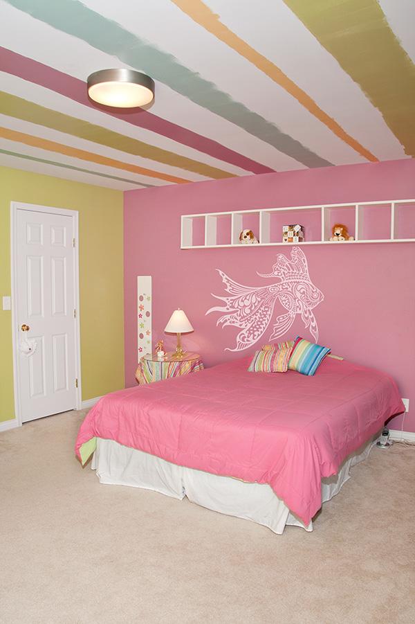różowe wnętrza, różowa sypialnia