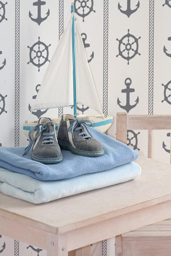 Morskie inspiracje we wnętrzach, marynarska tapeta, marynistyczne aranżacje, morskie inspiracje