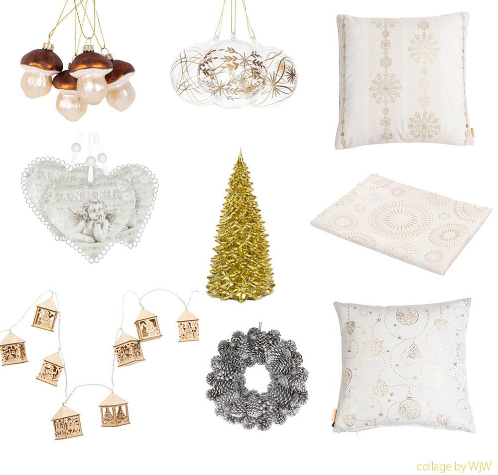 Świąteczne aranżacje, świąteczne aranżacje wnętrz, świąteczne dekoracje, ozdoby i tekstylia świąteczne złote i białe