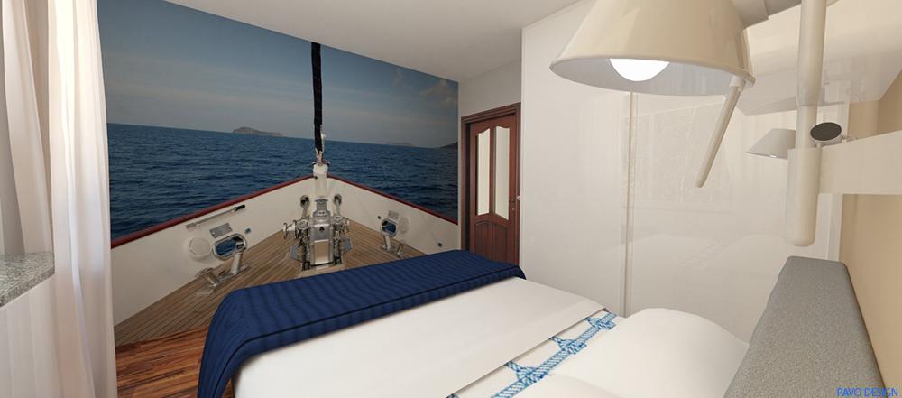 wnętrza skandynawskie, marynistyczna sypialnia