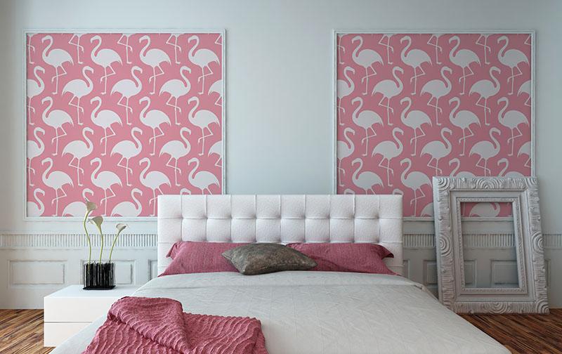 flaming dekoracja wnętrz, flaming motyw aranżacyjny, motywy dekoracyjne we wnętrzach