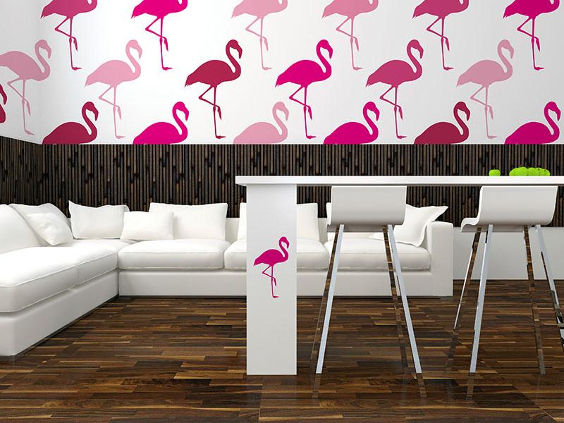 flamingi dekoracja wnętrz, flamingi motyw aranżacyjny, motywy dekoracyjne we wnętrzach