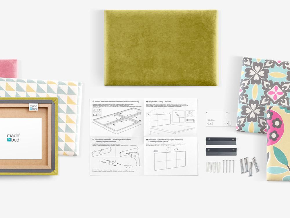modulłowy zagłówek łóżka, panele tapicerowane