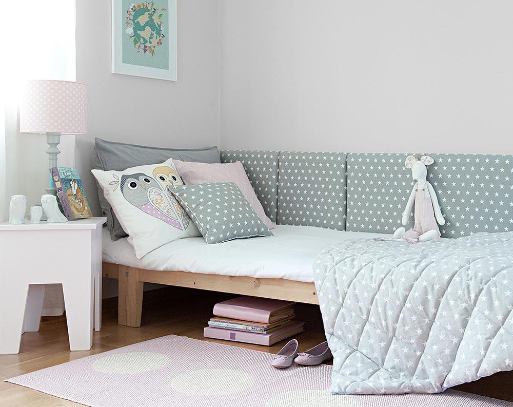łóżko z miękkim zagłówkiem, panele tapicerowane