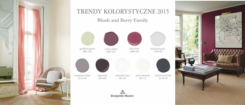 trendy kolorystyczne 2015 różowy, blush family Benjamin Moore