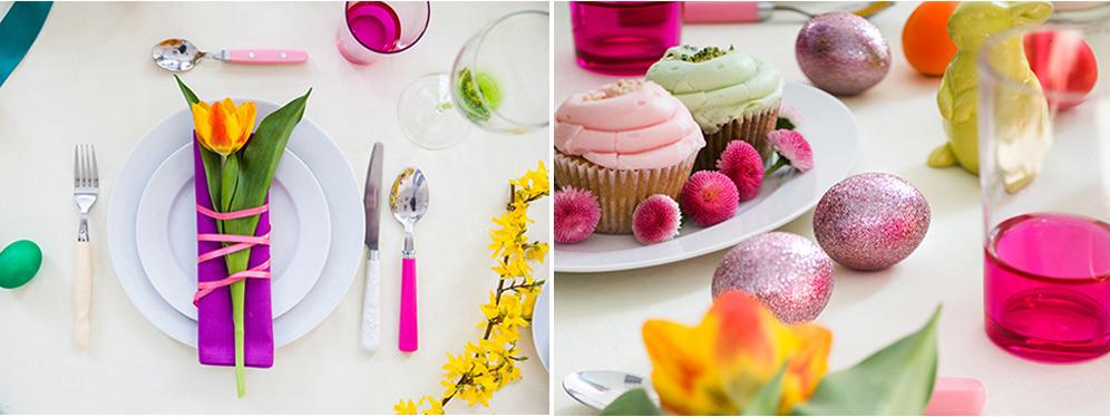 stół wielkanocny w różnych stylach, stół wielkanocny kolorowy i wiosenny