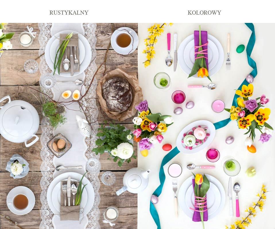 stół wielkanocny w różnych stylach, stół wielkanocny w stylu rustykalnym, stół wielkanocny kolorowo i wiosennie