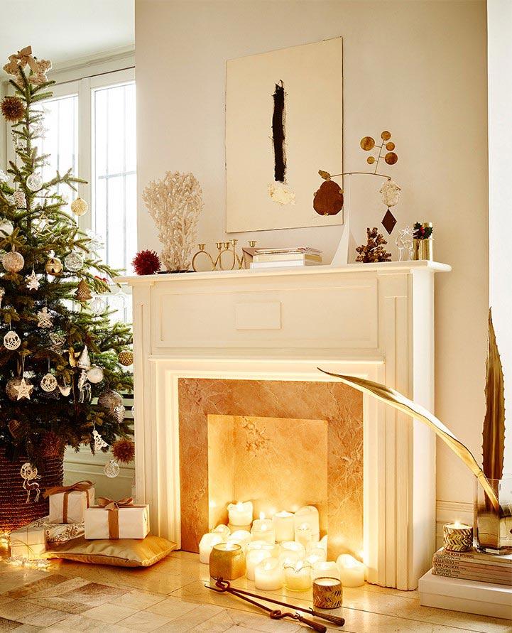 tradycyjne\aranzacje swiateczne, biało-złote aranżacje bożonarodzeniowe