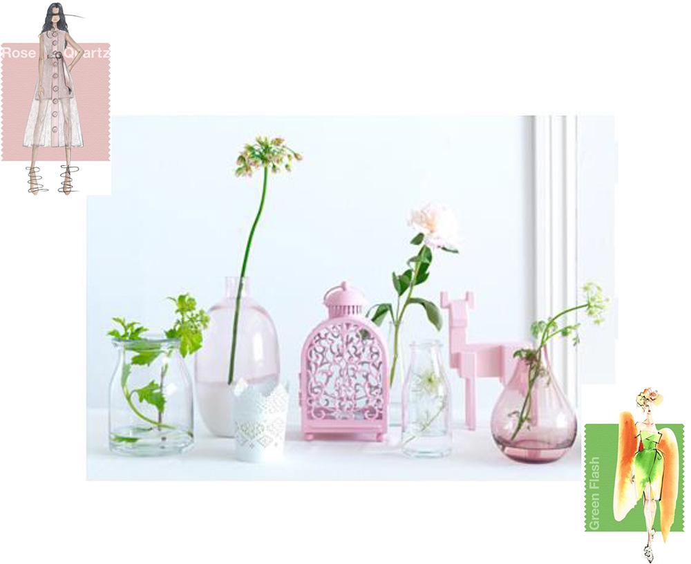 kolor roku 2016 Rose Quartz i Serenity, różowo zielone aranżacje, Rose Quartz & Green Flash