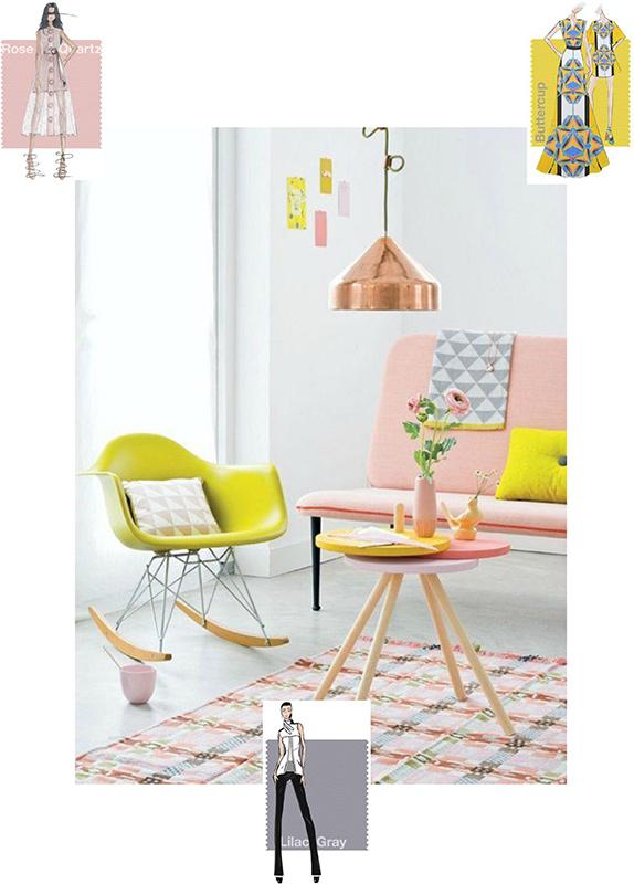 kolor roku 2016 Rose Quartz i Serenity, różowo żółte aranżacje, Rose Quartz & Buttercup