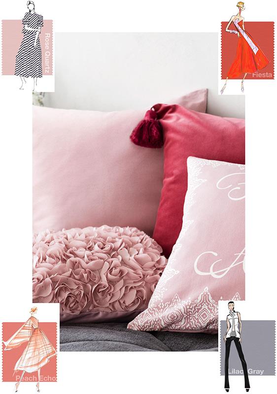 kolor roku 2016 - Rose Quartz i Serenity, czerwono różowe aranżacje,Rose Quartz, Peach Echo & Fiesta