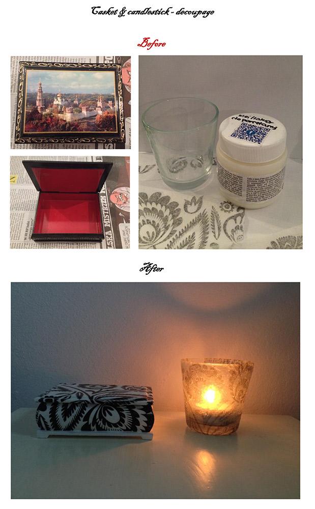 szkatułka decoupage, szkatułka drewniana w technice decoupage–DIY, świecznik szklany decoupage DIY