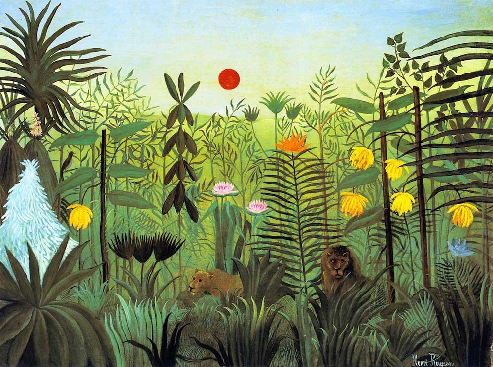 Henri Rousseau, motyw dżungli we wnętrzach, tapety w modnych kolorach roku 2017