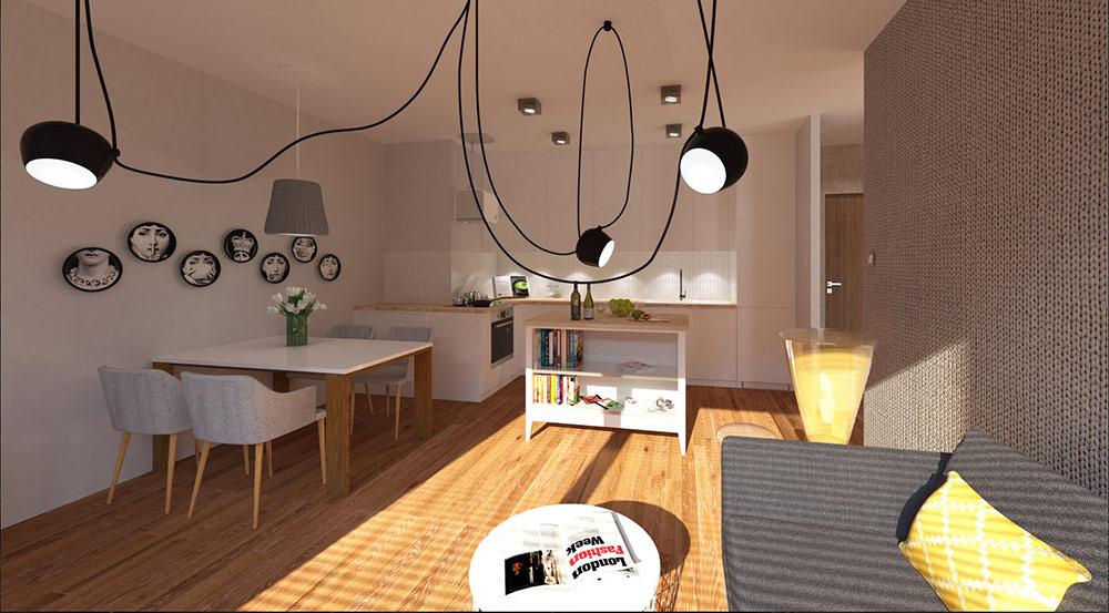 Fot. PAVO DESIGN - projekt salonu z aneksem kuchennym