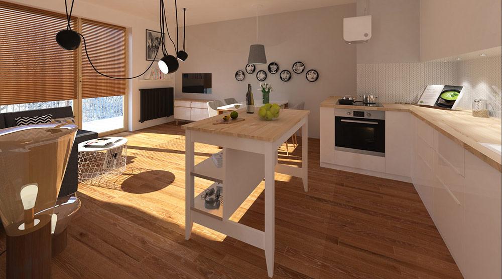 PAVO DESIGN - projekt salonu z aneksem kuchennym, pomysł na salon