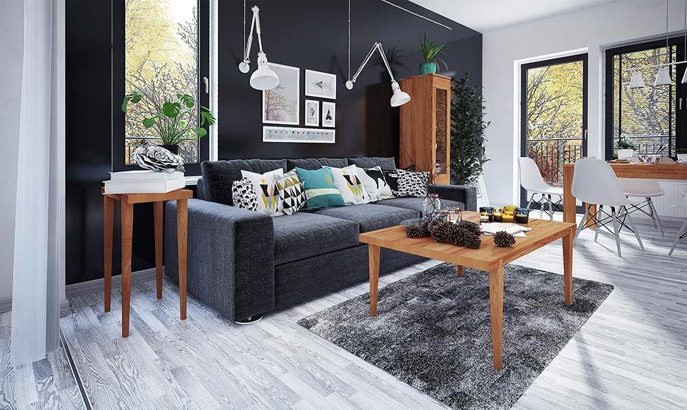 jak urządzić salon, pomysł na salon, meble drewniane do salonu