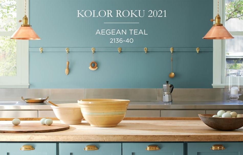 Kolor roku 2021 według Benjamin Moore – AEGEAN TEAL